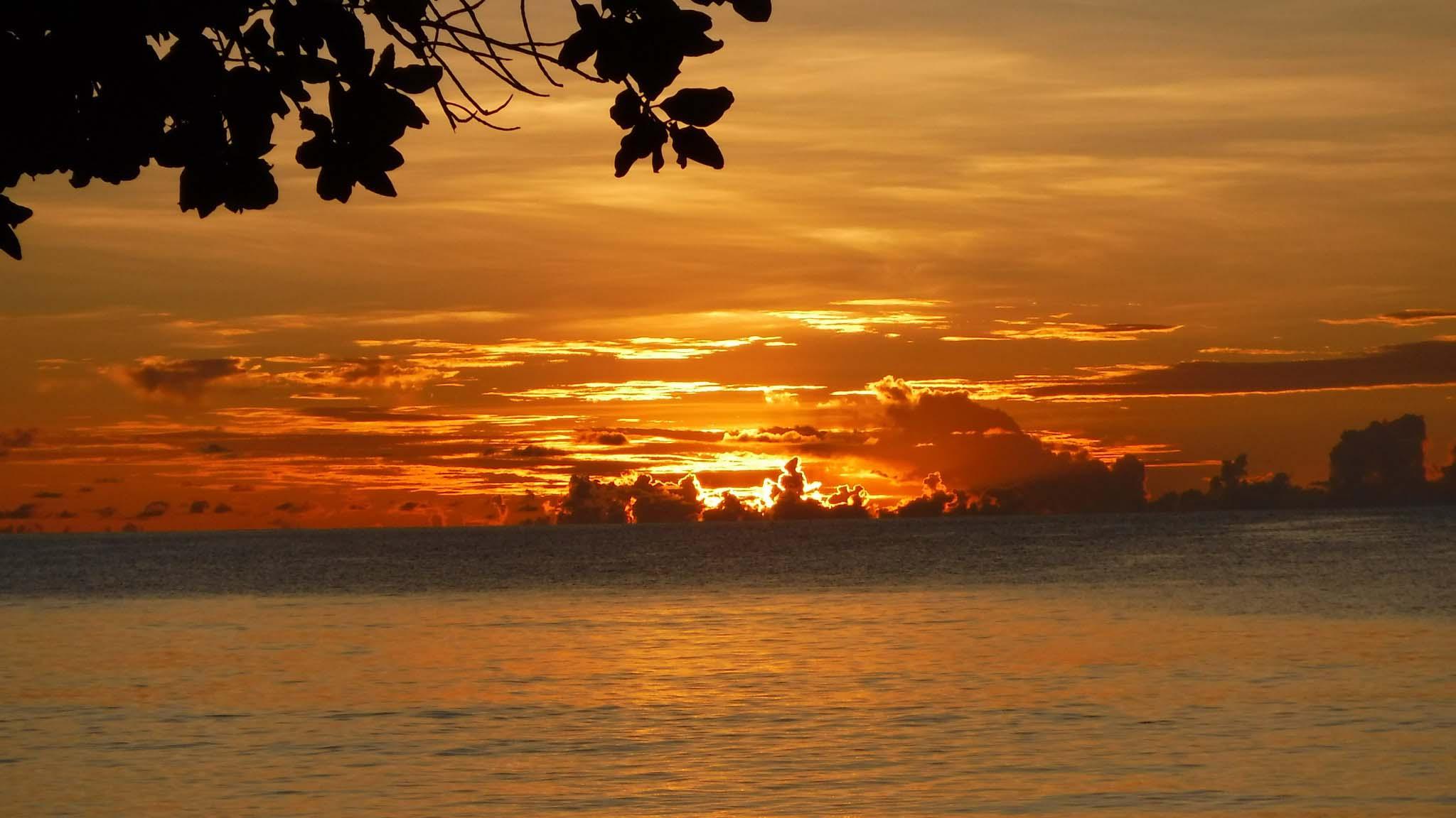 Coucher de soleil depuis Beauvallon - Seychelles