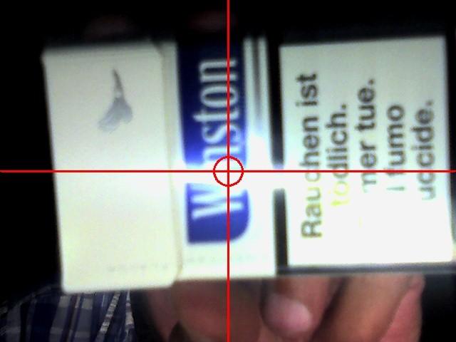 Kamerabild ohne Filter, mit eingeschaltetem Kreis und Kreuz