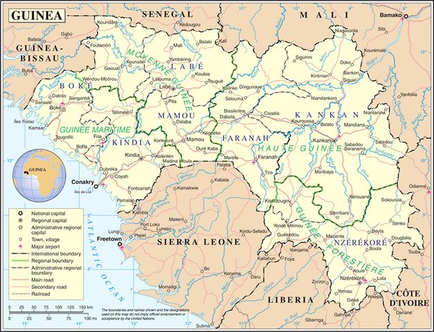 Landkarte Guinea