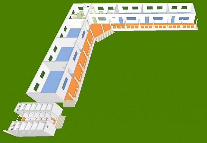 Schulhaus 3 D, Vorderansicht 2