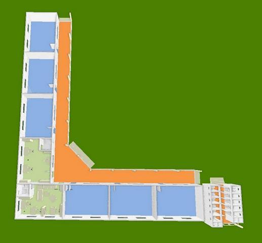 Schulhaus 3D, von oben