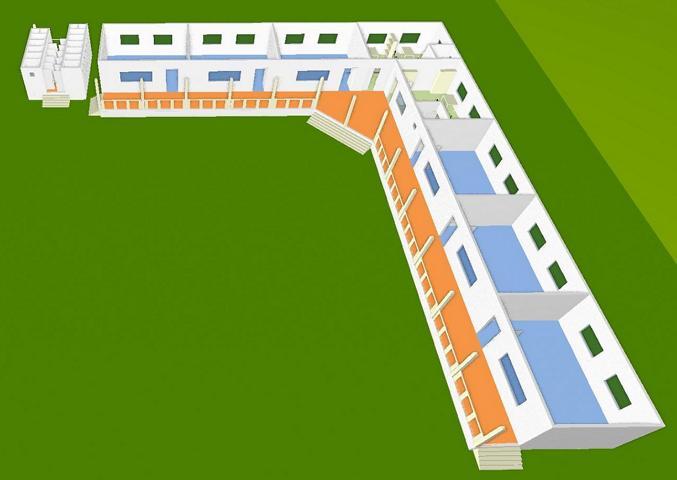 Schulhaus 3D, Vorderansicht 1
