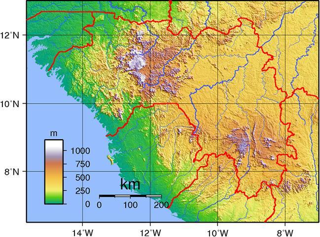topographische Karte Guinea
