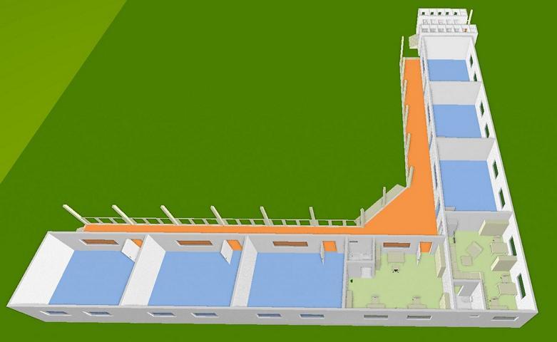 Schulhaus 3D, hintere Perspektive 2