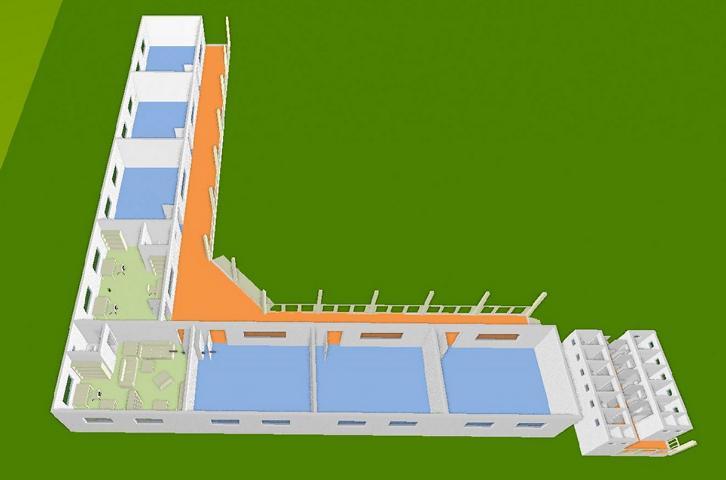 Schulhaus 3D, hintere Perspektive 1