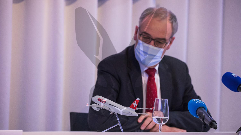 15.04.2021   Covid-19 Pandemie und wirtschaftliche Folgen: Besuch von Bundespräsident Guy Parmelin am Flughafen Zürich.
