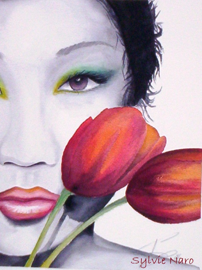 Femme aux Tulipes
