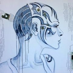 """""""Androidin"""" 120 x 100cm Acrylpainting"""