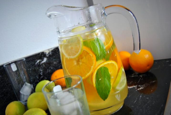 Detox Wasser Rezept mit Orangen, Zitronen, Minze und Ingwer