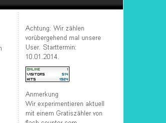 Screenshot Zählerstand am 09.02.2014