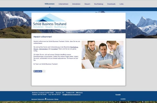 Website Business Treuhand Schild GmbH, Köniz