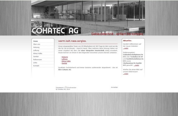 Website Cohatec AG, Öschgen