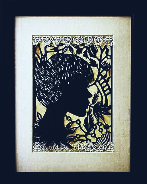 """OPHELIA"". 3D papercut. Wooden background. 30x40 (without frame)"