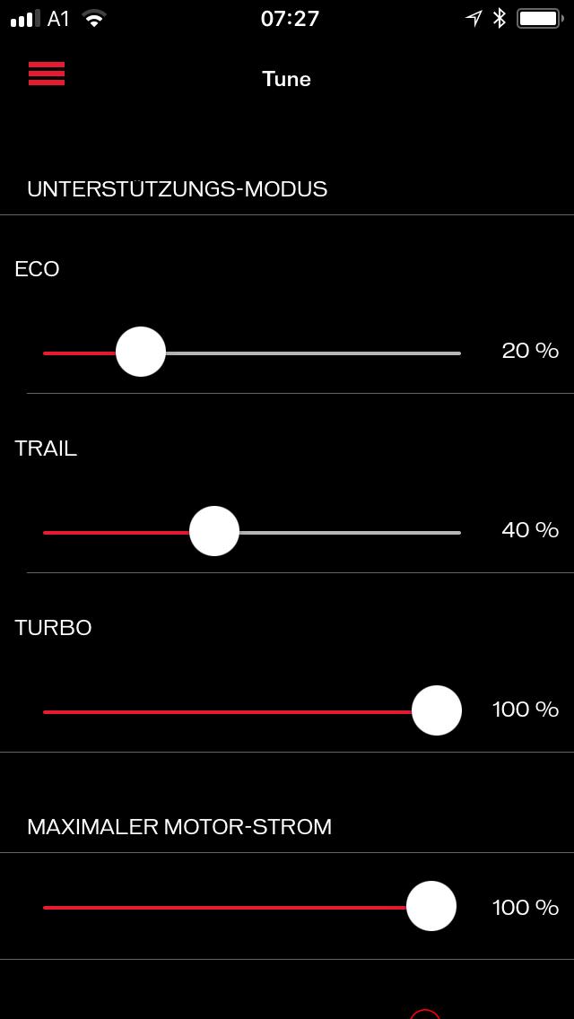 Am Lenker kann ich zwischen drei Unterstützungsstufen wählen. In der App habe ich die Unterstützung auf 20 - 40 - 100 % eingestellt.