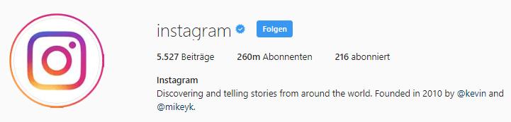 Unternehmensprofil von Instagram
