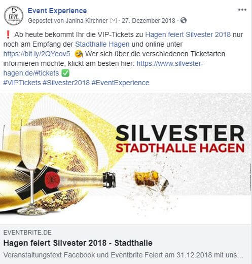 Facebook Post VIP Tickets Silvester