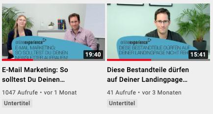 Screenshot allgemeine Videoübersicht bei YouTube vom Online Experience Kanal
