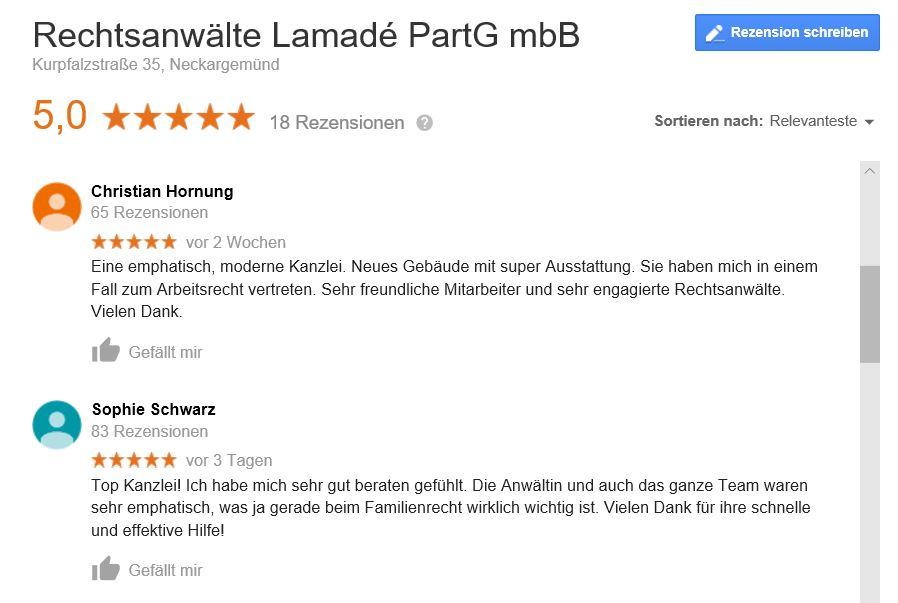 Rechtsanwalt Lamade Neckargemünd Google Bewertungen von Klienten