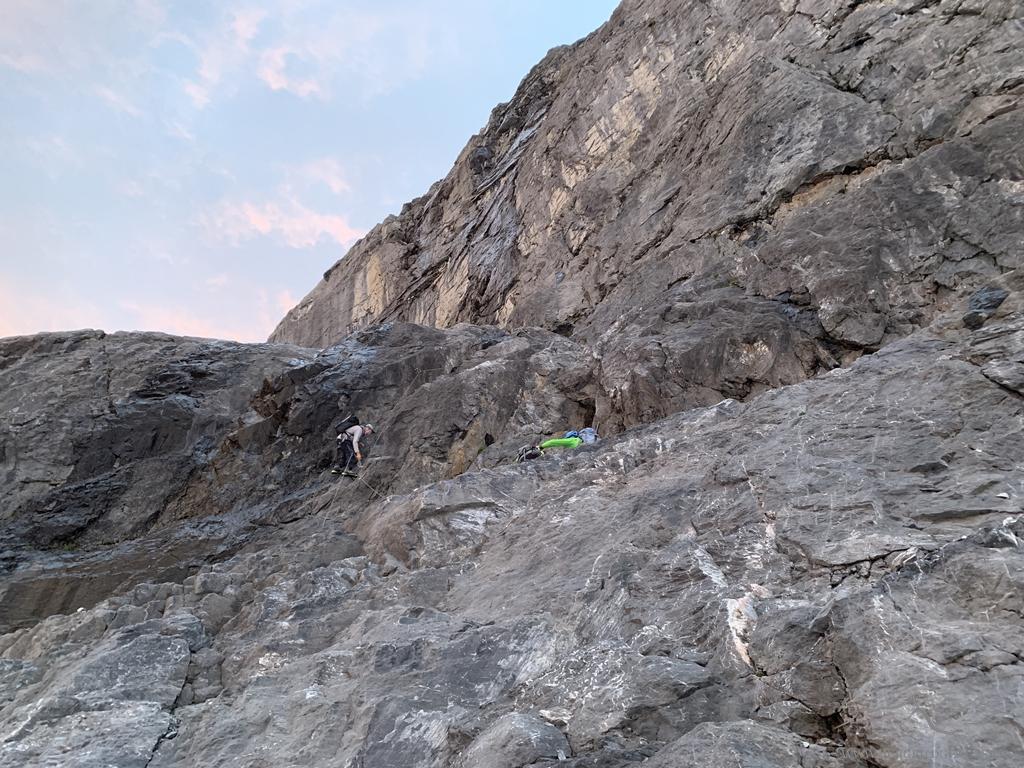 Am Einstieg zum Felsteil am Fründenhorn