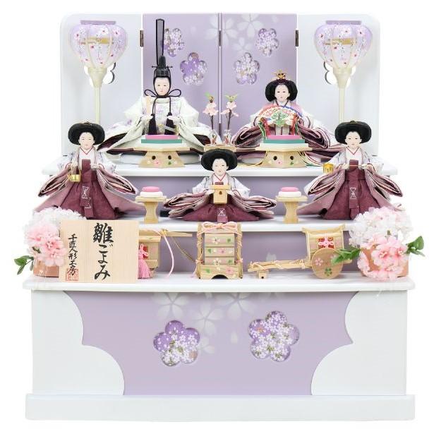 ひな人形 五人収納箱飾り 4H16-GP-027 五人収納箱飾り一式(正面)