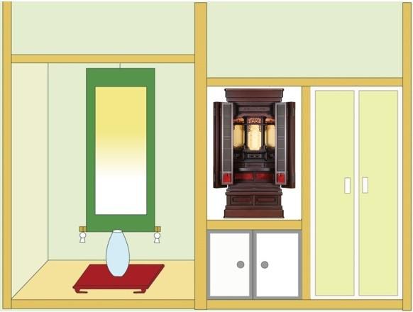 お仏壇「鷹山」18号を地袋付仏間に設置