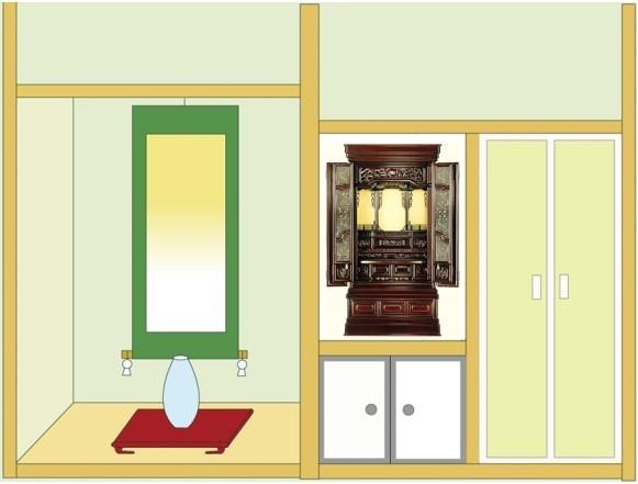 お仏壇「清雲」18号を地袋付仏間に設置