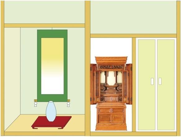 欅仏壇「ゆたか 2型 彫」45-18 明色を設置したイメージです