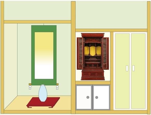 お仏壇「浜風」18号を地袋付仏間に設置