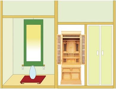 神徒壇56-22号を半間仏間に設置したイメージ