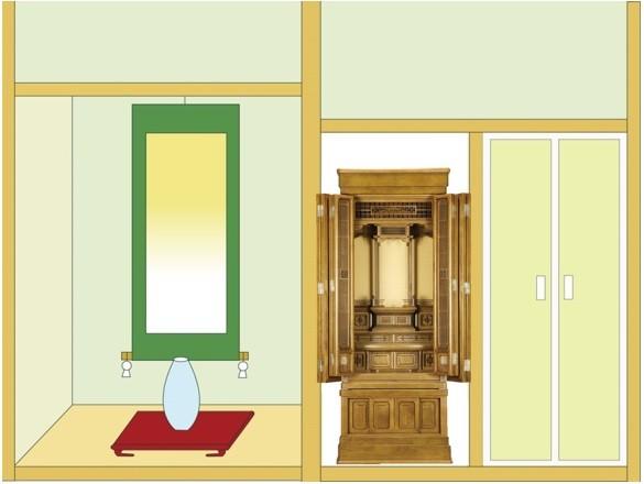 半間仏間に「琴泉 筬」56-20を設置したイメージ