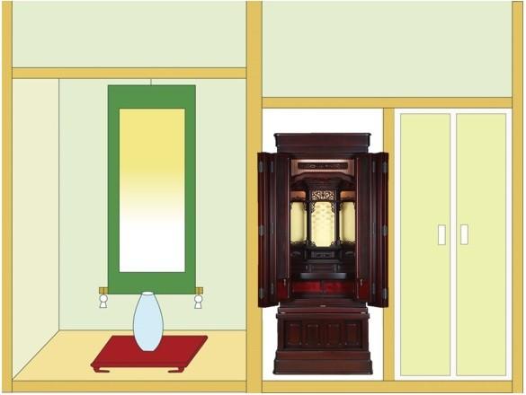 半間仏間に「鷹山 筬」55-20を設置したイメージ