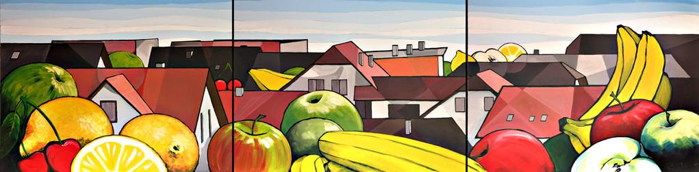 """Wandgestaltung """"Obstsalat & Dächermeer"""" 300x80cm (2009)"""
