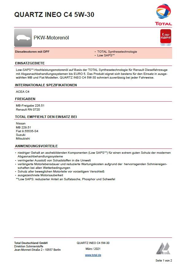 Total Quartz INEO C4  SAE 5W-30