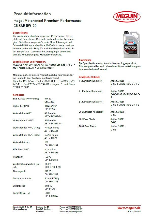 Meguin megol Motorenoel Premium  Performance C5  SAE 0W-20