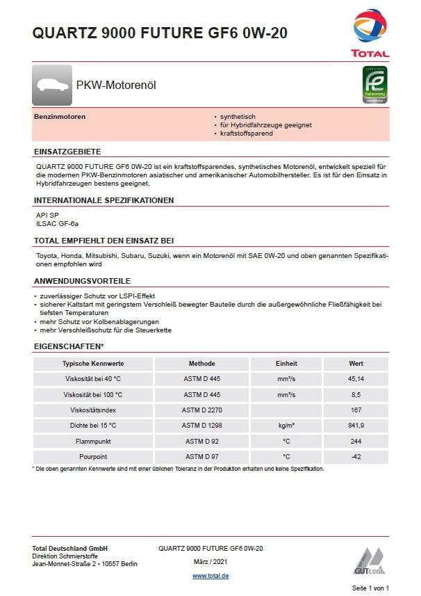 Total Quartz 9000 Future GF6  SAE 0W-20