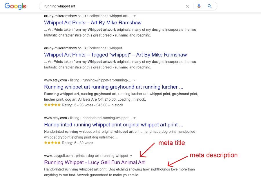 seo meta title description search engine optimisation art craft photography