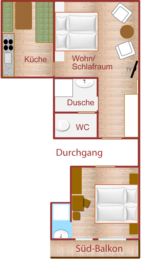Apartment XL mit zusätzlichem Doppelzimmer