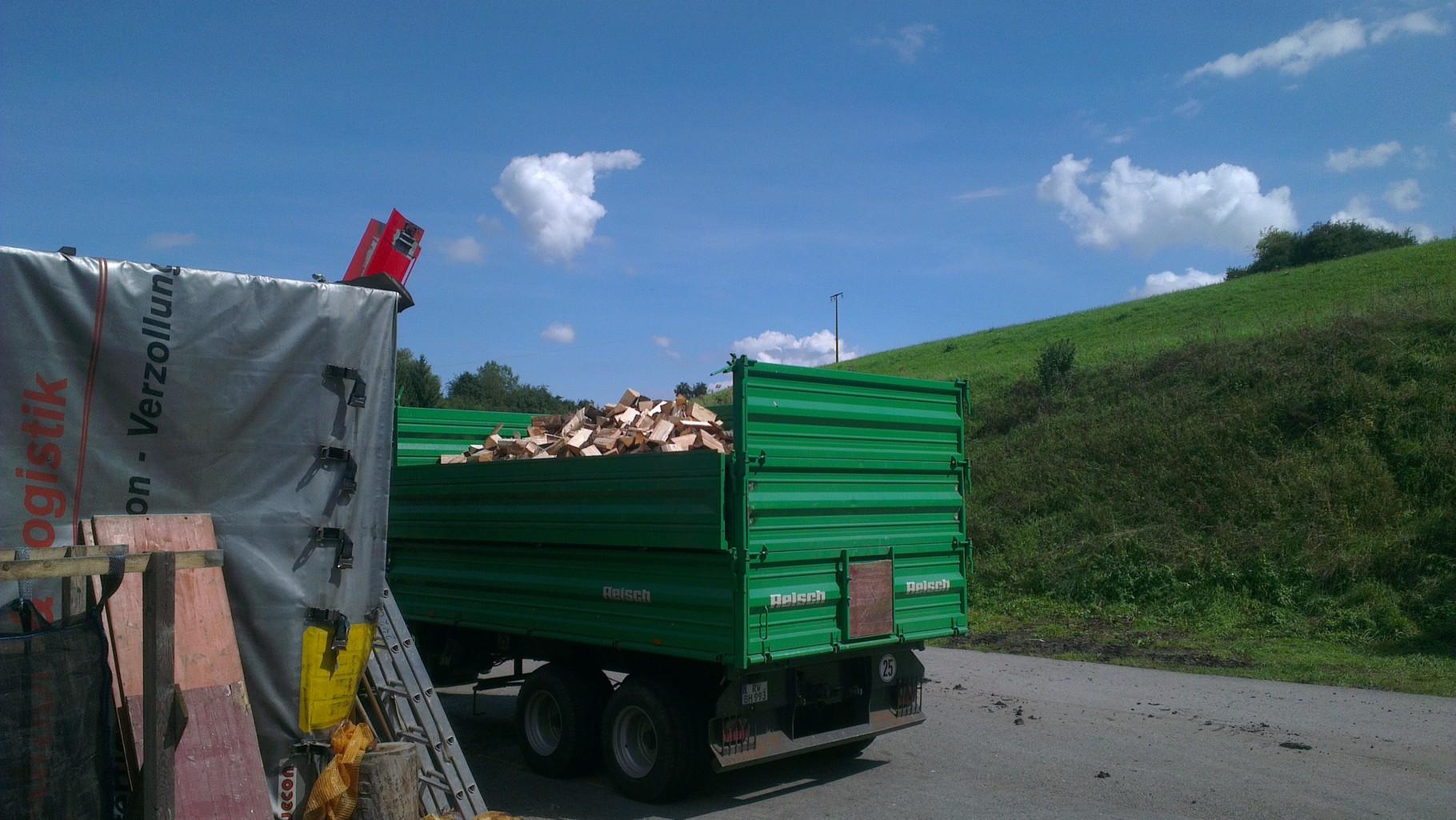 Kipper mit Brennholz