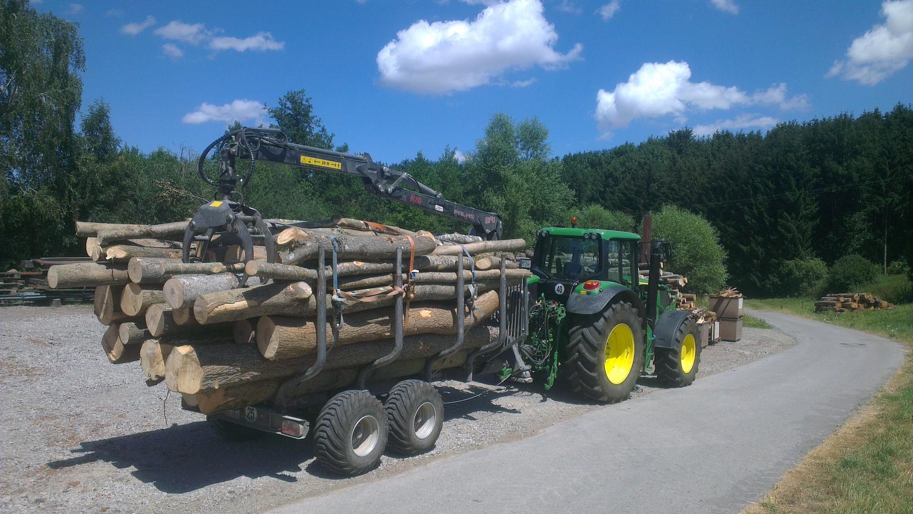 Brennholz am Holzplatz abladen