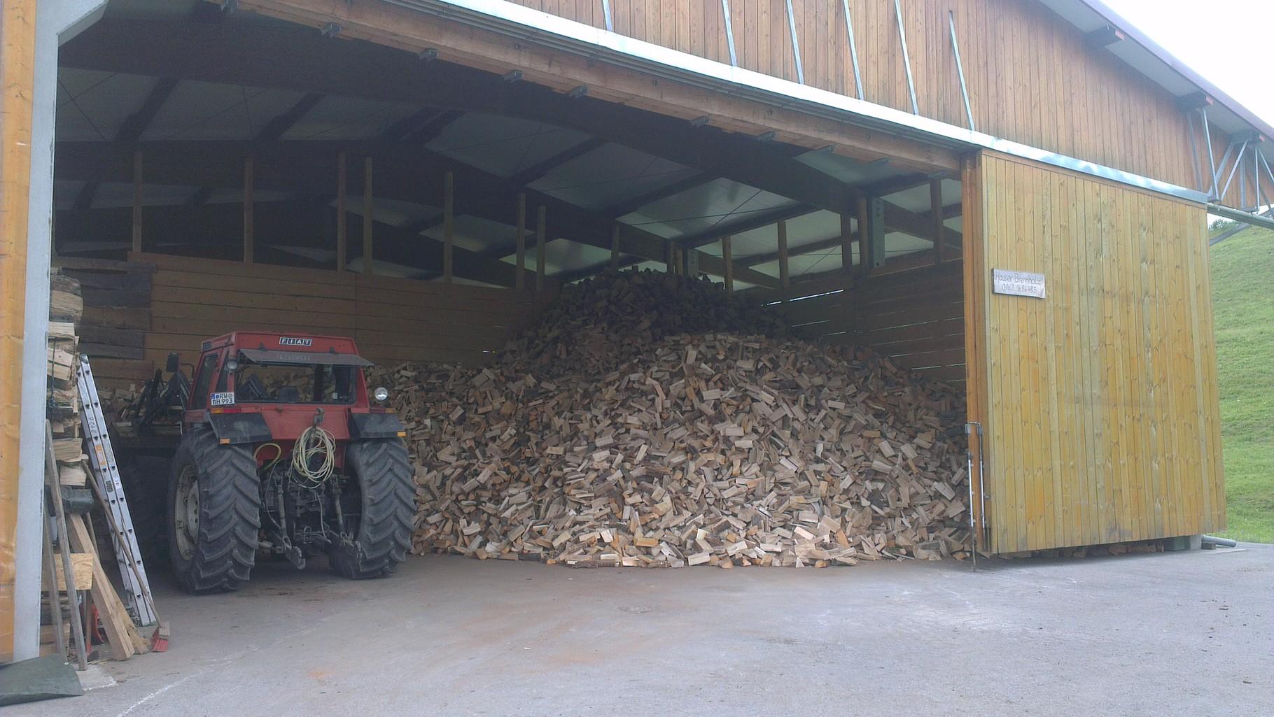 ofenfertiges Brennholz im Lager