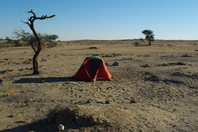 Notre fière tente à Gobabeb