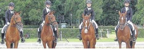 Die Diepholzer Ponyreiter holten im Wettkampf um die Landesponystandarte Silber. Es ritten (v.l.) Kenya Schwierking, Thalia Meyer, Paul Bergen und Laura Schierholz
