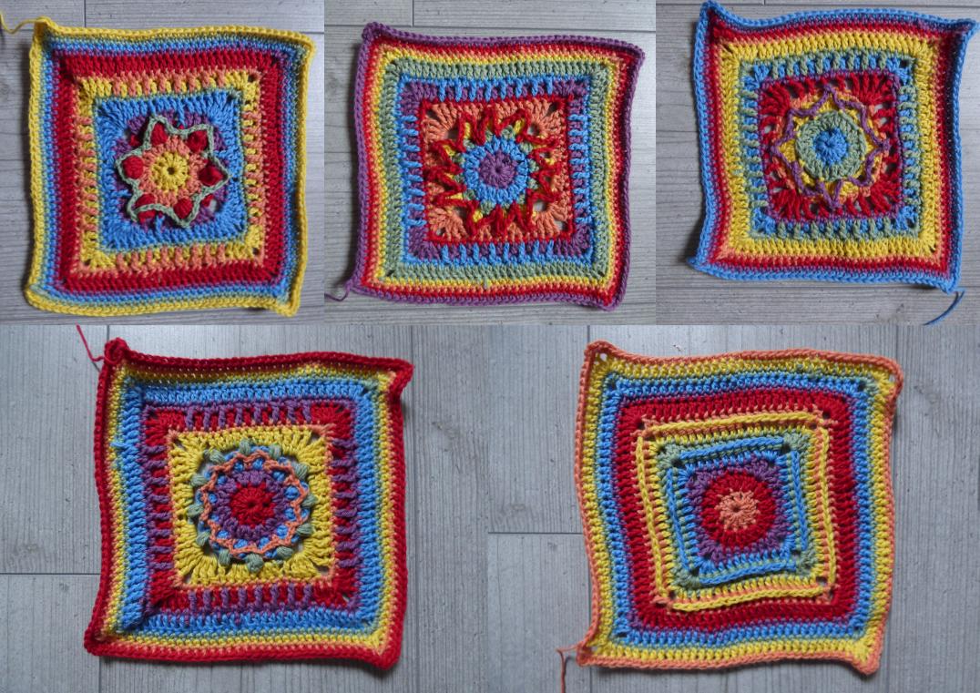 Noch mehr bunte Häkelquadrate für den Crochet A Block 2021 Crochet Along
