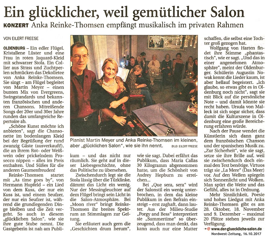Konzertbericht in der Nordwest-Zeitung vom 16.10.2017