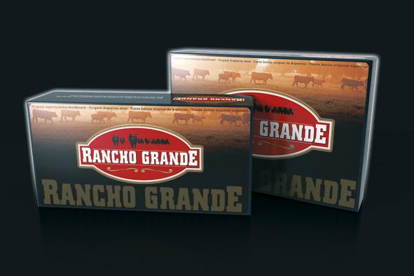 RANCHO GRANDE – Premium Fleischqualität für höchste Ansprüche: Logoentwicklung inkl. Packungsdesign für argentinische Rindfleischspezialitäten der Gottfried Kurth Fleischimporte GmbH