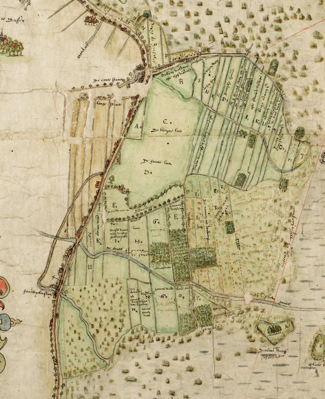Grote en Kleine Laer in de zestiende eeuw. Bij A staat nu het pand Dussendijk 26