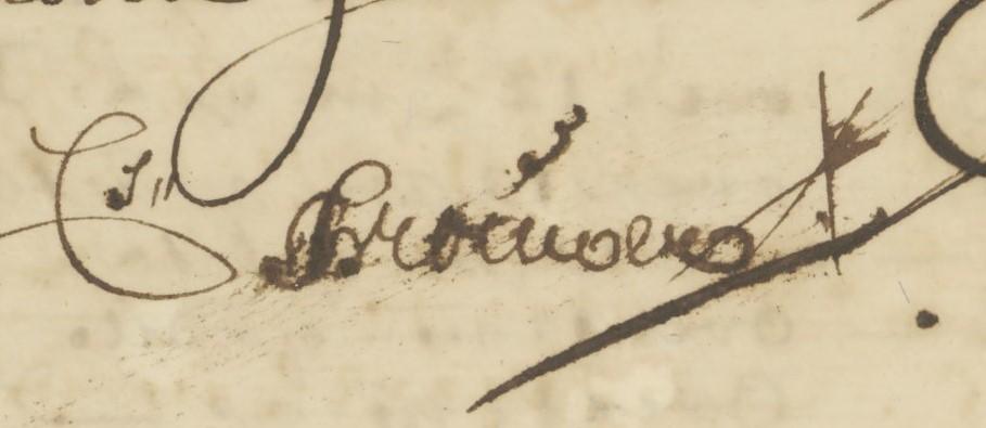 Handtekennig Cornelis Brouwer 1705