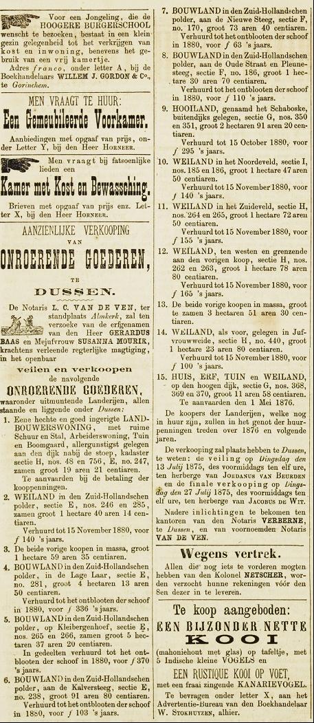 Boerderij in de verkoop in 1875