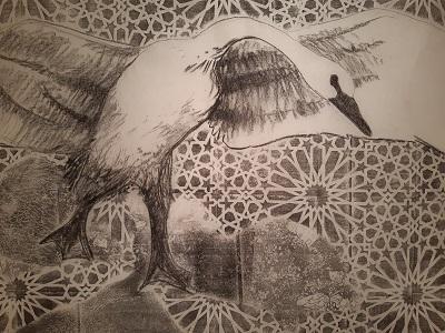 Druckgrafik mit Zeichnung von Nora Eckhart