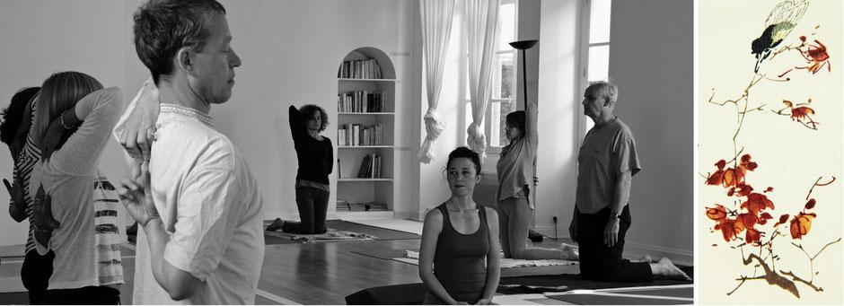Une séance DÉBUTANT de Hatha Yoga guidée sous le regard attentif et bienveillant de l'enseignante - Posture de Yoga - La demi-tête de vache. Chacun.e évolue en fonction de ses possibilités.